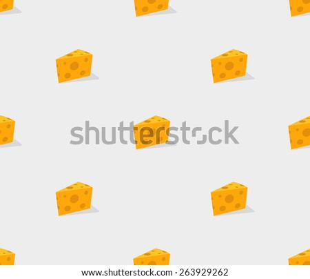 yellow piece of cheese pattern background seamless - stock vector