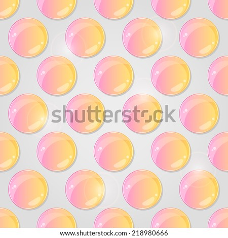 Yellow Pink Seamless Pattern with Round Shiny Glass Drop on Grey Background. Vector Illustration - stock vector