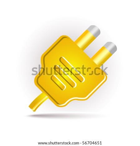 yellow plug in - stock vector