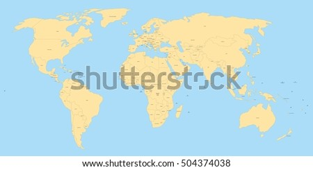 Yellow Political World Map Black Labels Stock Vector - The world map with labels