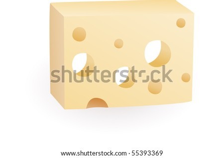 yellow porous cheese food with holes - vector illustration