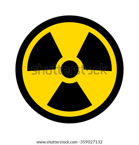 Yellow radioactive / radiation symbol flat icon for websites and print - stock vector