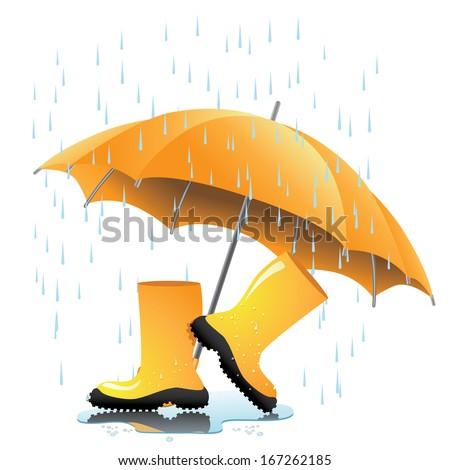 Yellow Rain Boots Umbrella Puddle EPS Stock Vector ... - photo #34
