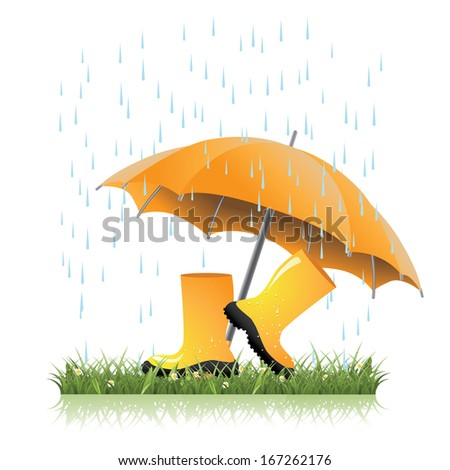 Yellow rain boots and umbrella in spring grass. EPS 10 vector. grouped for easy editing. No open shapes or paths. - stock vector