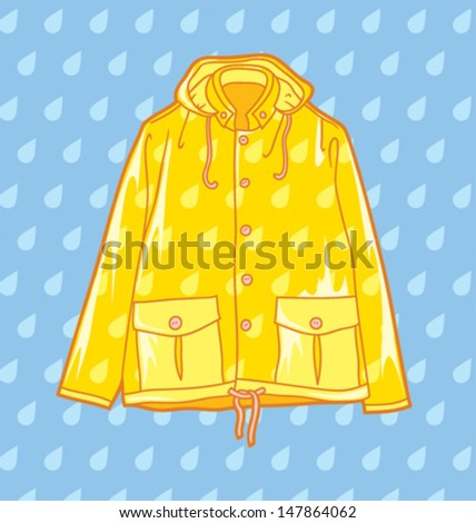 yellow raincoat on a light blue background - stock vector