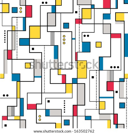 yellow red & blue abstract pattern - stock vector