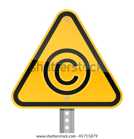 Yellow road hazard warning sign with copyright symbol on a white background - stock vector