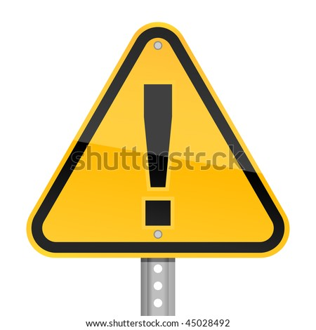 Yellow road hazard warning sign with exclamation mark symbol on a white background - stock vector