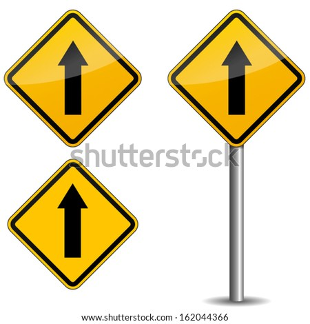 Yellow road sign - stock vector