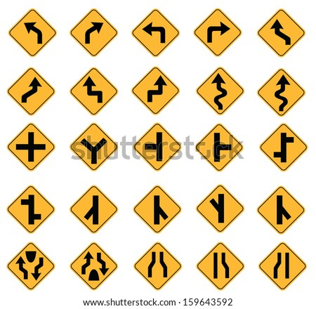 yellow road signs, traffic signs vector set on white background - stock vector