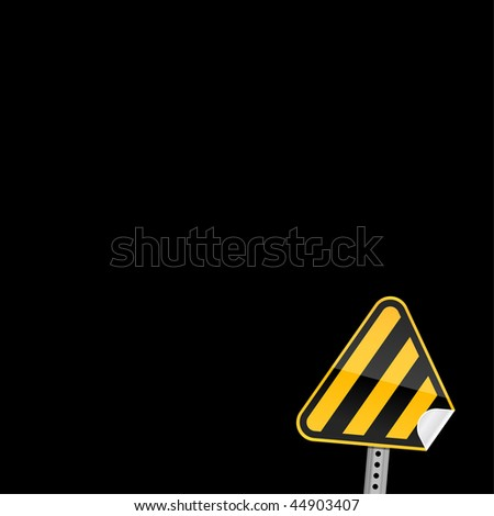 Yellow road warning sign with warning stripes symbol and with curved corner on a dark background - stock vector