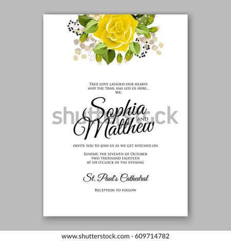 Yellow rose floral wedding invitation printable stock vector yellow rose floral wedding invitation printable gold bridal shower invitation suite boho flower wreath filmwisefo Choice Image