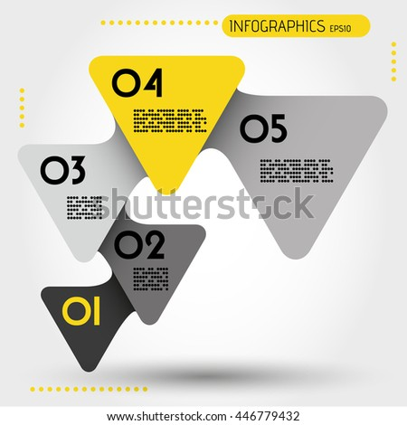 yellow rounded infographic triangles