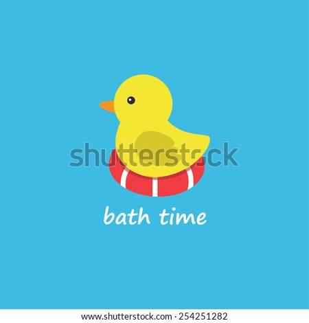 yellow rubber duck. vector illustration - stock vector