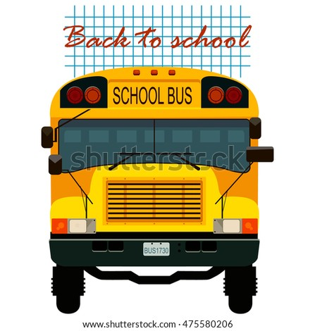 Yellow school bus. Back to school. Vector illustration.