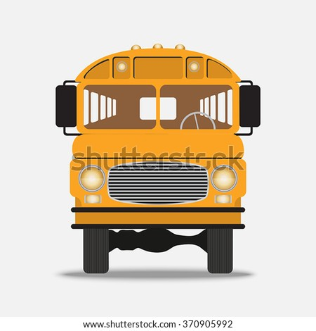 Yellow School Bus front view on a white background
