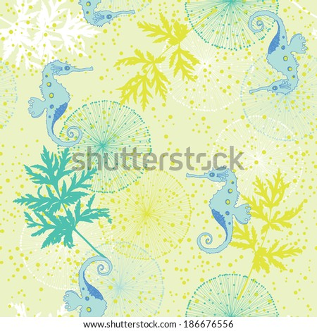 Yellow Seamless Pattern with Sea-Horses - stock vector