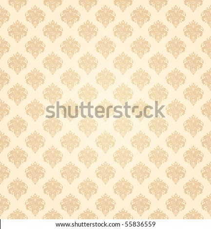Yellow seamless wallpaper pattern, vector - stock vector
