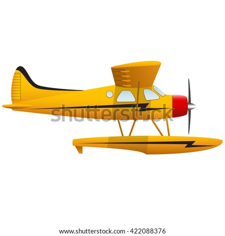 Yellow seaplane. Airplane on white background. Isolated object. Vector Image. - stock vector