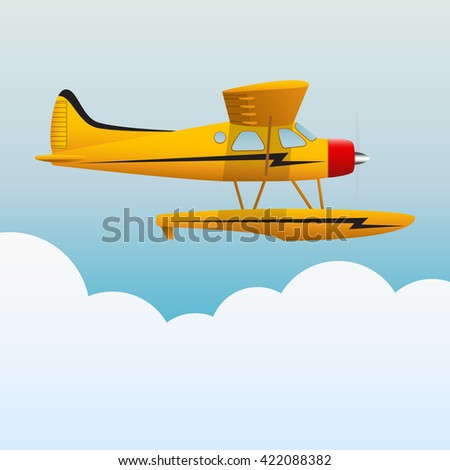 Yellow seaplane. The aircraft in the sky. Vector Image. - stock vector