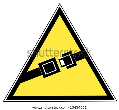 yellow seatbelt sign indicating to buckle up - vector - stock vector