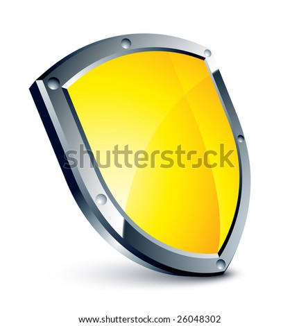 Yellow shield - stock vector