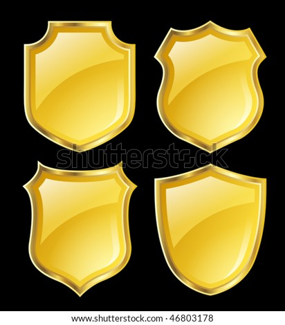 yellow shield with golden border; design set with various shapes - stock vector