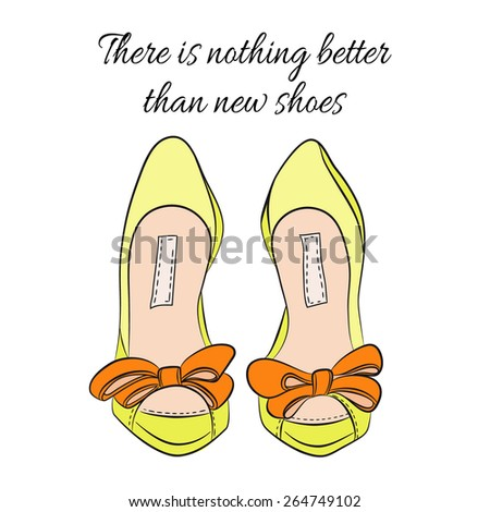 Yellow shoes with orange bows, vector illustration - stock vector