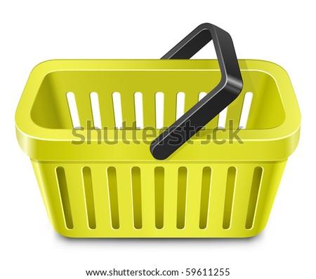 Yellow shopping basket - stock vector