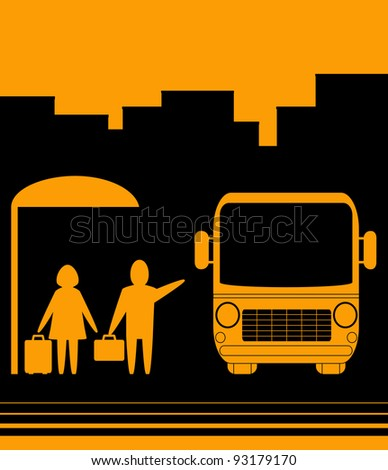 yellow sign with image bus stop and people woman and men - stock vector