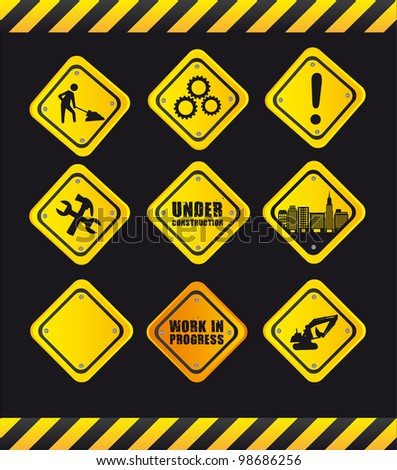yellow signs over black background. vector illustration - stock vector