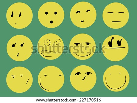 Yellow smilies with different looks on a green background - stock vector