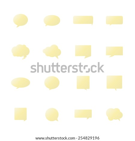 Yellow Speech bubble icons on white background. - stock vector