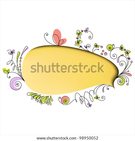 Yellow speech bubble with floral elements on white background - stock vector