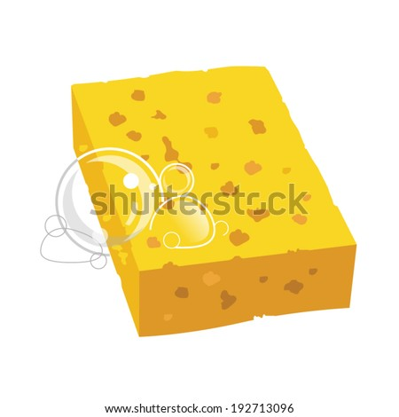 yellow sponge with bubbles vector illustration - stock vector
