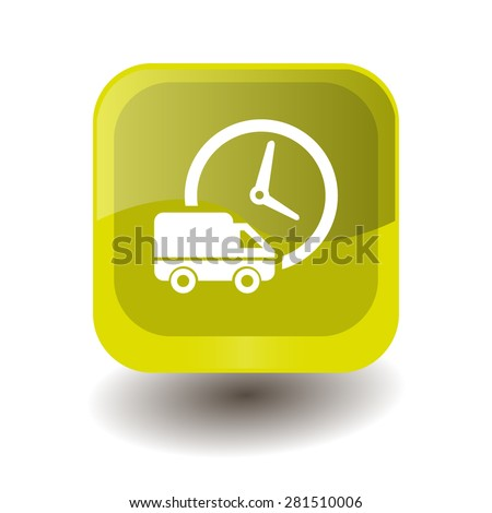 Yellow square button with white fast shipping sign, vector design for website  - stock vector