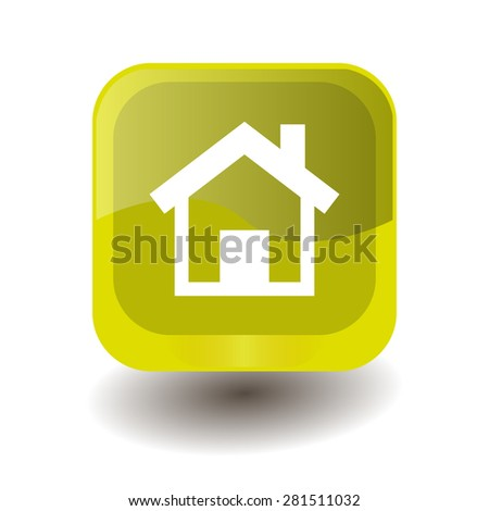 Yellow square button with white houme sign, vector design for website  - stock vector