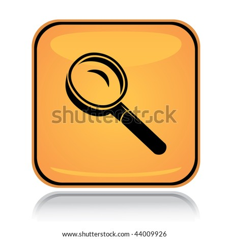 Yellow square icon search glass with reflection over white - stock vector