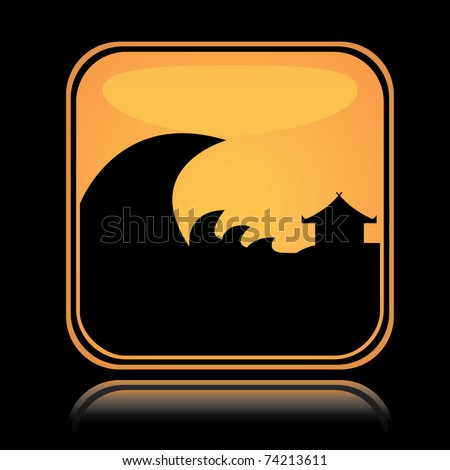 Yellow square icon tsunami hazard with reflection over black background - stock vector