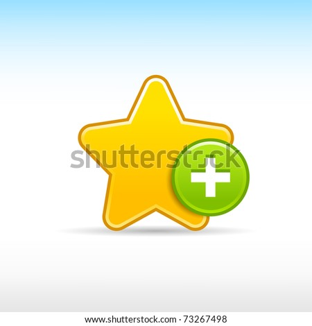 Yellow star favorite web 2.0 icon with green button add and shadow on white - stock vector