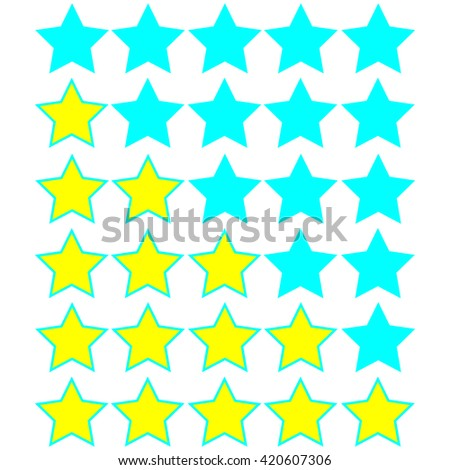 yellow stars of rating on azure stars - stock vector