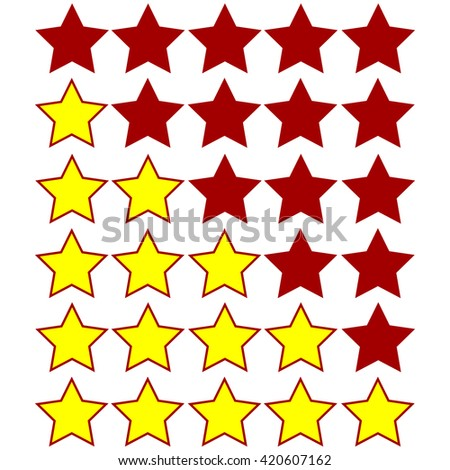 yellow stars of rating on dark red stars - stock vector