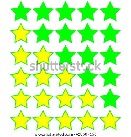 yellow stars of rating on green stars - stock vector