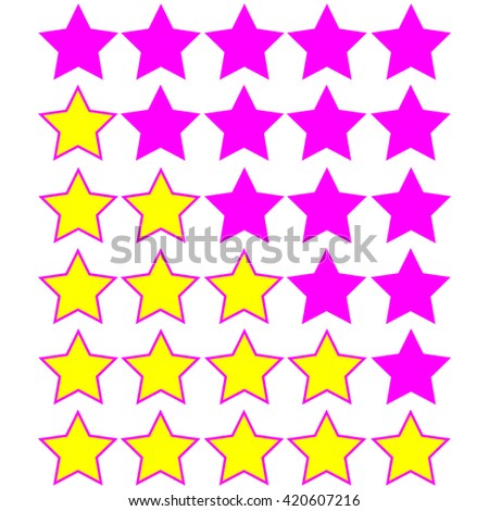 yellow stars of rating on pink stars - stock vector