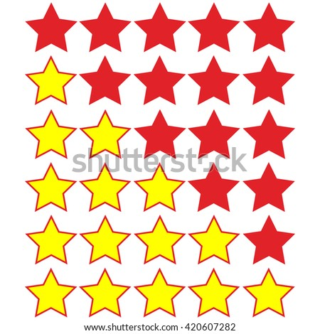 yellow stars of rating on red stars - stock vector