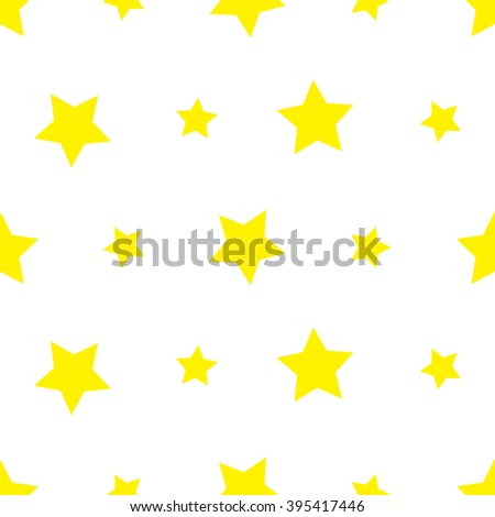 Yellow Stars pattern / white background / cute pattern / vector - stock vector