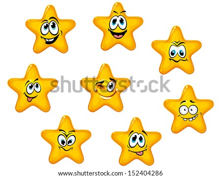 Yellow stars with emotional faces in cartoon style or idea of logo. Jpeg version also available in gallery - stock vector