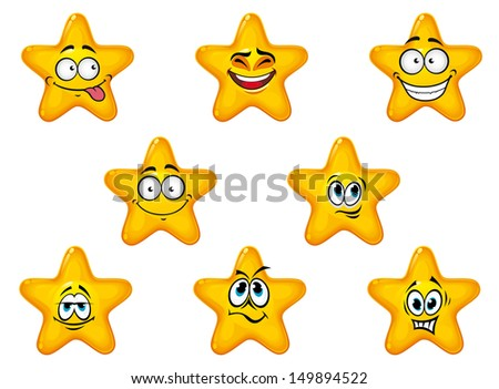 Yellow stars with happy and cheerful emotions isolated on white background or idea of logo. Jpeg version also available in gallery - stock vector