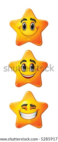 Yellow stars with smiling faces, eyes, mouth and brushes. Vector set of characters.