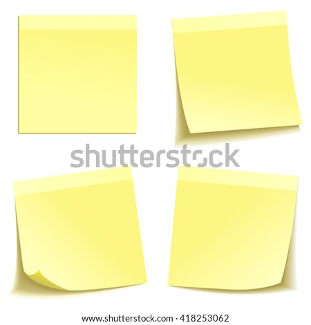 Yellow stick note isolated on white background, Eps 10 vector file. - stock vector